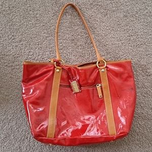 Cavalcanti Italy Leather Red Gloss Tote